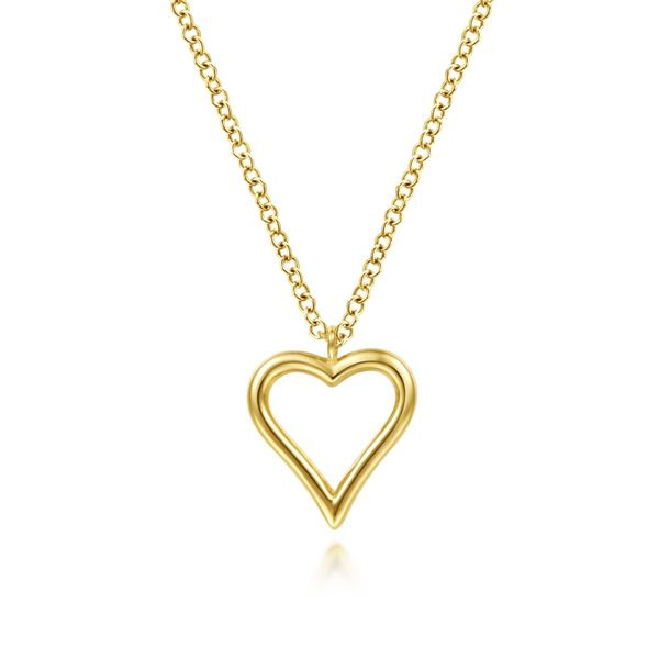 Yellow Gold Open Heart Necklace Polly's Fine Jewelry N. Charleston, SC