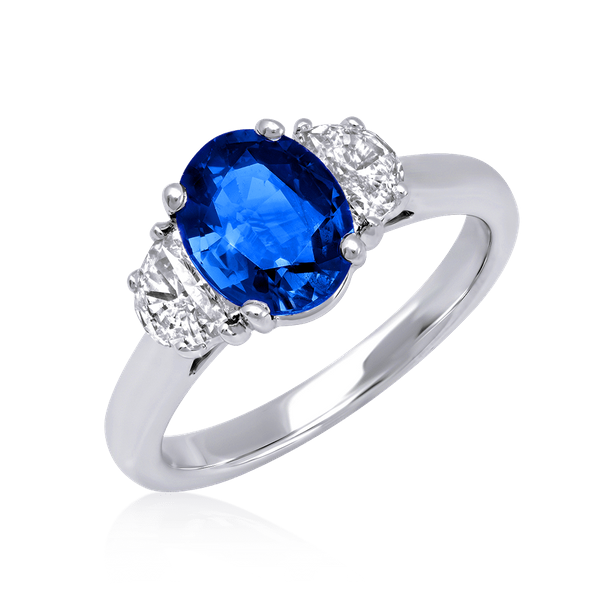 Oval Sapphire Ring with Moon Cut Side Diamonds Polly's Fine Jewelry N. Charleston, SC