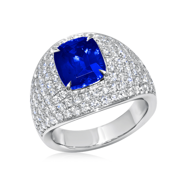 Certified Natural Cushion Cut Sapphire Ring Image 2 Polly's Fine Jewelry N. Charleston, SC