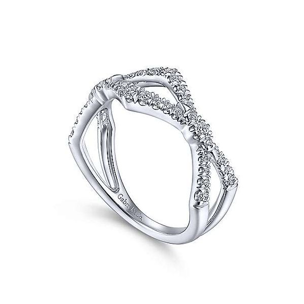 14K White Gold Twisted Diamond Ring Image 3 Polly's Fine Jewelry N. Charleston, SC