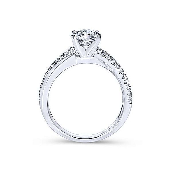 14K White Gold Round Twisted Diamond Engagement Ring Image 3 Polly's Fine Jewelry N. Charleston, SC