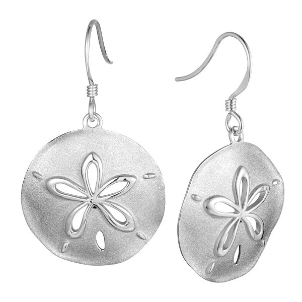 Sterling Sand Dollar Drop Earrings Polly's Fine Jewelry N. Charleston, SC