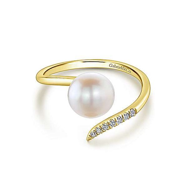 14K Yellow Gold Cultured Pearl and Diamond Open Wrap Ring Polly's Fine Jewelry N. Charleston, SC