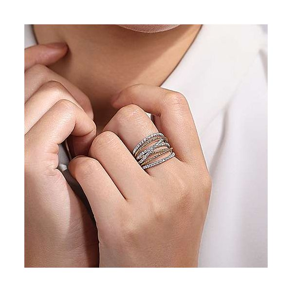 14K White-Yellow Gold Twisted Rope and Diamond Multi Row Ring Image 4 Polly's Fine Jewelry N. Charleston, SC