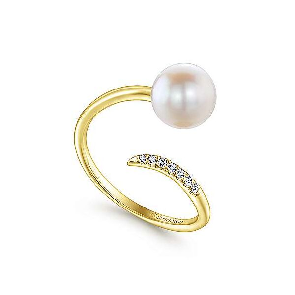 14K Yellow Gold Cultured Pearl and Diamond Open Wrap Ring Image 3 Polly's Fine Jewelry N. Charleston, SC