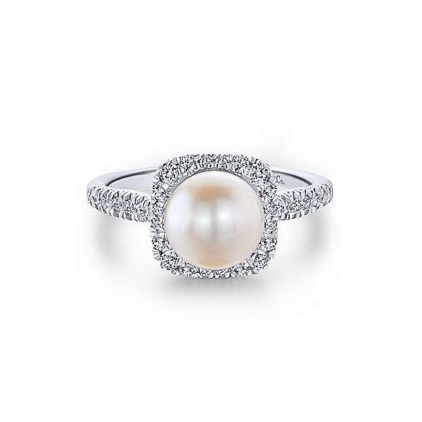 14K White Gold Classic Cultured Pearl and Diamond Halo Ring Polly's Fine Jewelry N. Charleston, SC