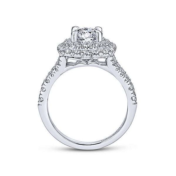 14K White Gold Double Halo Diamond Engagement Ring Image 3 Polly's Fine Jewelry N. Charleston, SC