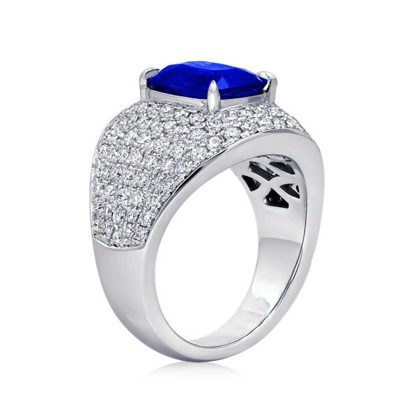 Certified Natural Cushion Cut Sapphire Ring Image 3 Polly's Fine Jewelry N. Charleston, SC