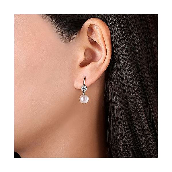 14K White Gold Cluster Diamond Disc and Pearl Drop Earrings Image 2 Polly's Fine Jewelry N. Charleston, SC
