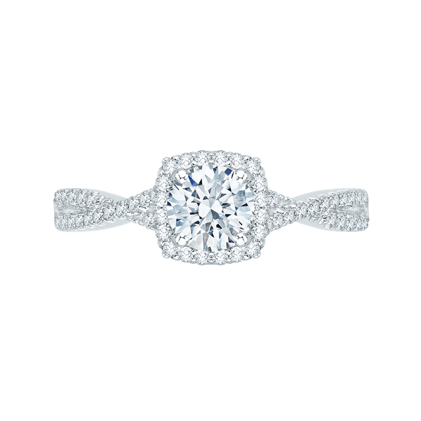 Complete Round Cut .81 ctw White Gold Diamond Halo Engagement Ring Polly's Fine Jewelry N. Charleston, SC