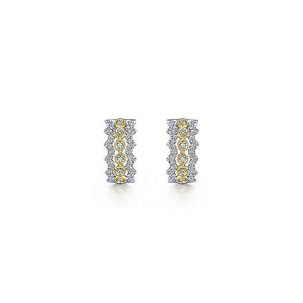 14K Yellow-White Gold 10mm Wide Diamond Huggie Earrings Image 3 Polly's Fine Jewelry N. Charleston, SC