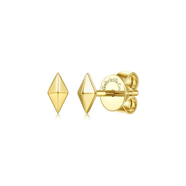 Yellow Gold Pyramid Kit Shaped Stud Polly's Fine Jewelry N. Charleston, SC