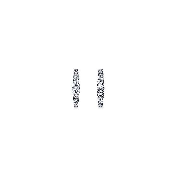 14K White Gold 13mm Classic Diamond Huggie Earrings Image 3 Polly's Fine Jewelry N. Charleston, SC