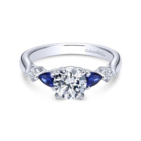 Gabriel Three Stone Sapphire and Diamond Semi Mount Polly's Fine Jewelry N. Charleston, SC
