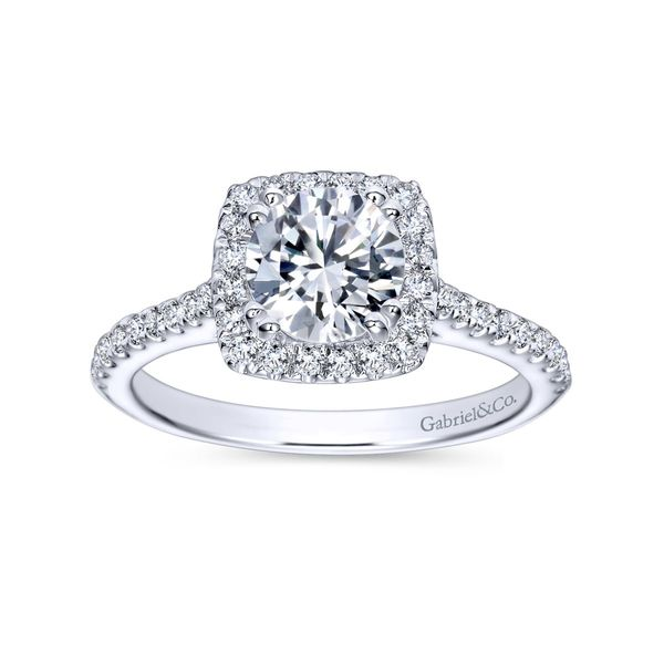 Gabriel Round Diamond with Cushion Halo Mounting  Image 4 Polly's Fine Jewelry N. Charleston, SC