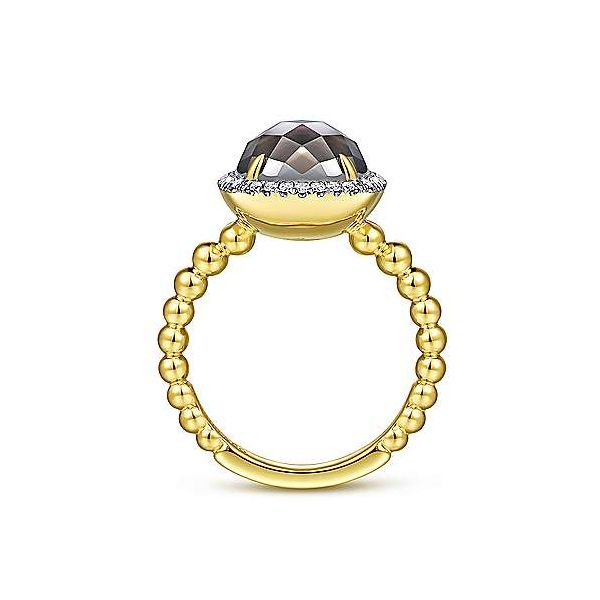 14K Yellow Gold Oval Black Mother of Pearl and Diamond Halo Ring.  Image 2 Polly's Fine Jewelry N. Charleston, SC