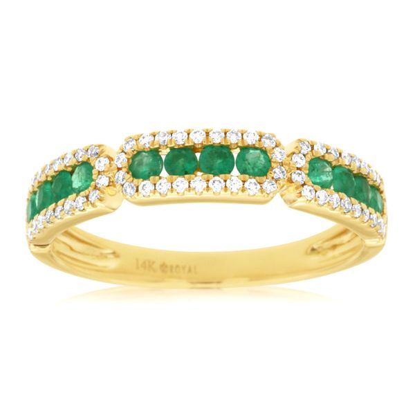 14K Yellow Gold Emerald and Diamond Stack Ring Polly's Fine Jewelry N. Charleston, SC