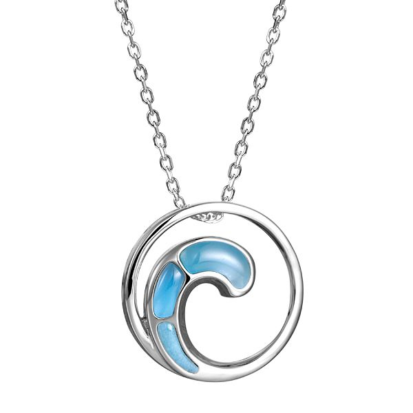 Sterling Larimar Wave Necklace Polly's Fine Jewelry N. Charleston, SC