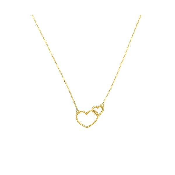 Yellow Gold Linked Hearts Necklace Polly's Fine Jewelry N. Charleston, SC