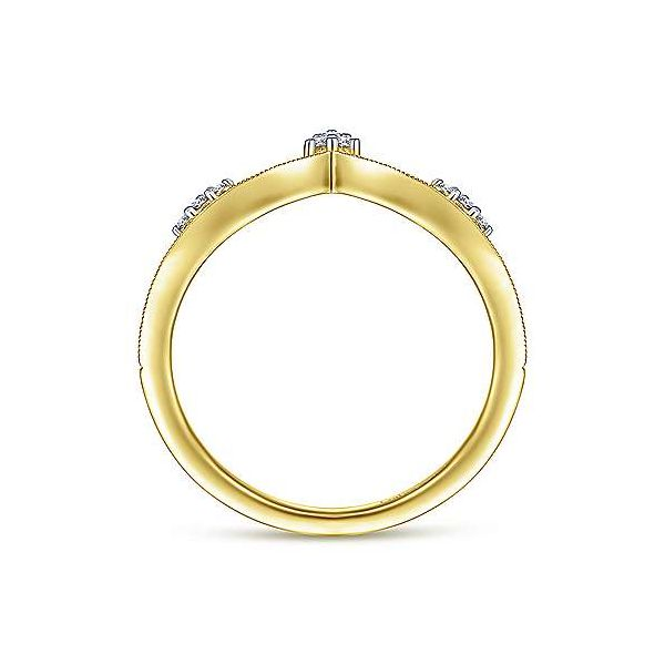14K Yellow Gold Curved Diamond V Ring Image 2 Polly's Fine Jewelry N. Charleston, SC