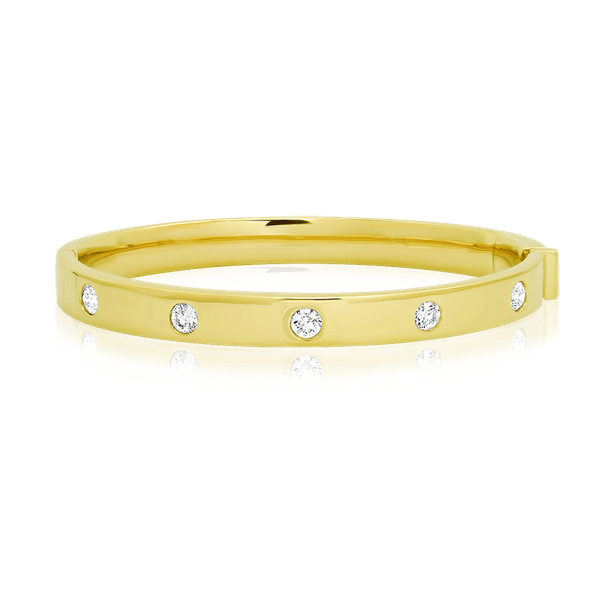 Solid Gold Bangle Bracelet with Bezel Set Diamond-Stations Polly's Fine Jewelry N. Charleston, SC