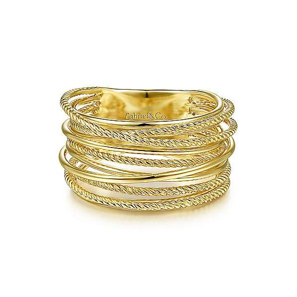 14K Yellow Gold Criss Crossing Twisted Rope Ring Polly's Fine Jewelry N. Charleston, SC