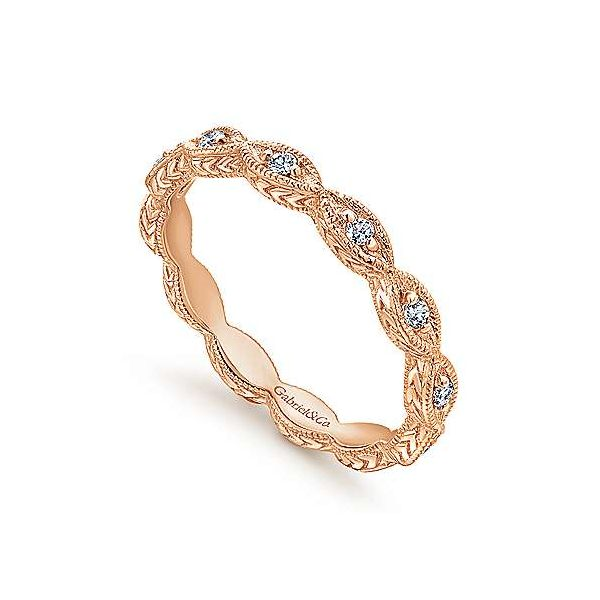 Rose gold marquise stack band Image 2 Polly's Fine Jewelry N. Charleston, SC