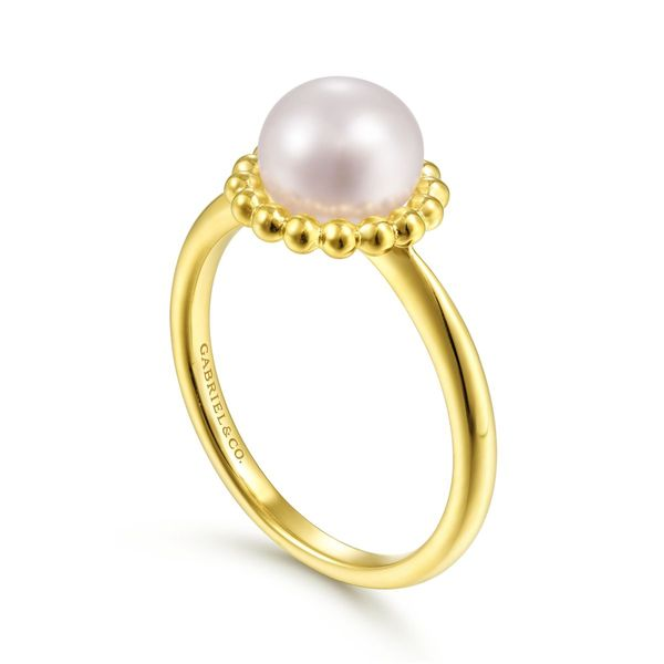 Yellow Gold Beaded Pearl Ring Image 3 Polly's Fine Jewelry N. Charleston, SC