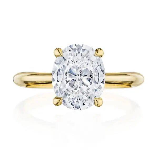 18K Yellow Gold Oval Engagement Ring with Diamond Gallery Polly's Fine Jewelry N. Charleston, SC