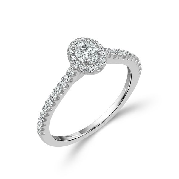 Complete Oval Cut .50 ctw White Gold Diamond Halo Engagement Ring Polly's Fine Jewelry N. Charleston, SC