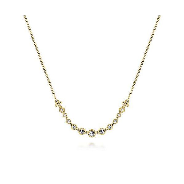 14K Yellow Gold Millgrain Bezel Set Diamond Curved Bar Necklace Polly's Fine Jewelry N. Charleston, SC