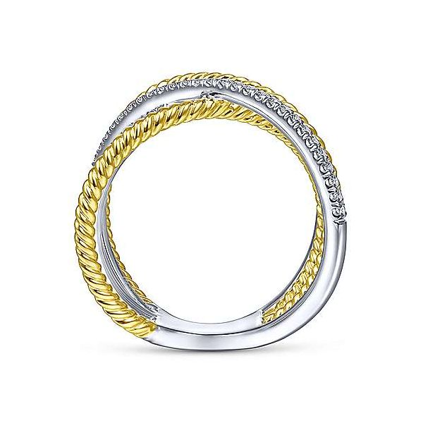 14K White-Yellow Gold Twisted Rope and Diamond Criss Cross Ring Image 2 Polly's Fine Jewelry N. Charleston, SC
