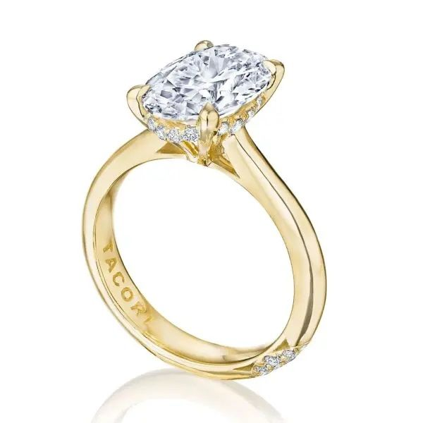 18K Yellow Gold Oval Engagement Ring with Diamond Gallery Image 3 Polly's Fine Jewelry N. Charleston, SC