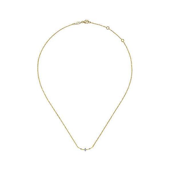 14K Yellow Gold Curved Bar Necklace with Diamond Stations Image 2 Polly's Fine Jewelry N. Charleston, SC