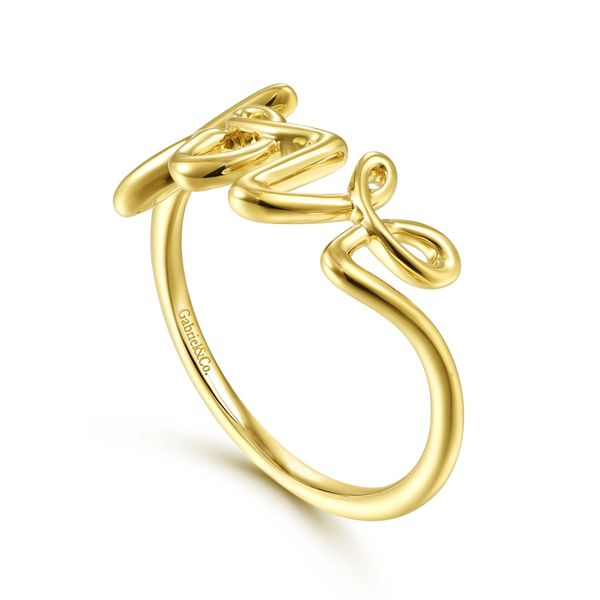 Yellow Gold Love Script Ring Image 3 Polly's Fine Jewelry N. Charleston, SC