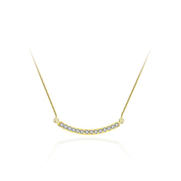 14K Yellow Gold Diamond Pavé Curved Bar Necklace Polly's Fine Jewelry N. Charleston, SC