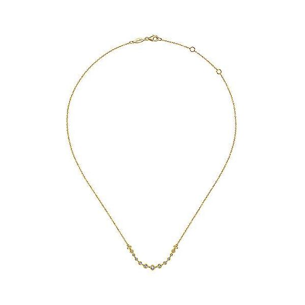 14K Yellow Gold Millgrain Bezel Set Diamond Curved Bar Necklace Image 2 Polly's Fine Jewelry N. Charleston, SC