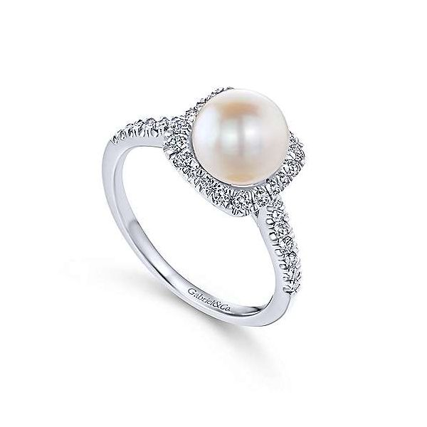 14K White Gold Classic Cultured Pearl and Diamond Halo Ring Image 3 Polly's Fine Jewelry N. Charleston, SC