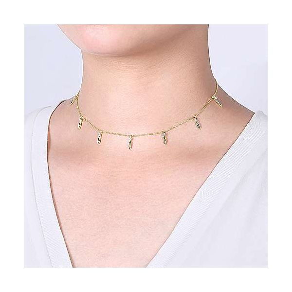 14K Yellow Gold Choker Necklace with Diamond and Spike Drops Image 4 Polly's Fine Jewelry N. Charleston, SC
