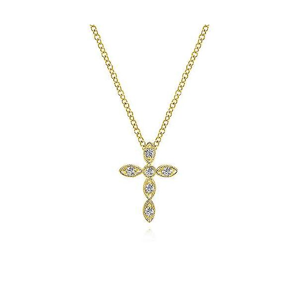 14K Yellow Gold Marquise Shaped Diamond Cross Necklace Polly's Fine Jewelry N. Charleston, SC