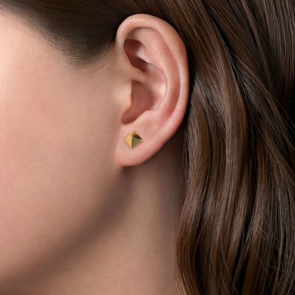 Yellow Gold Pyramid Stud Earring Image 2 Polly's Fine Jewelry N. Charleston, SC