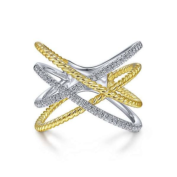14K White-Yellow Gold Twisted Rope and Diamond Criss Cross Ring Polly's Fine Jewelry N. Charleston, SC