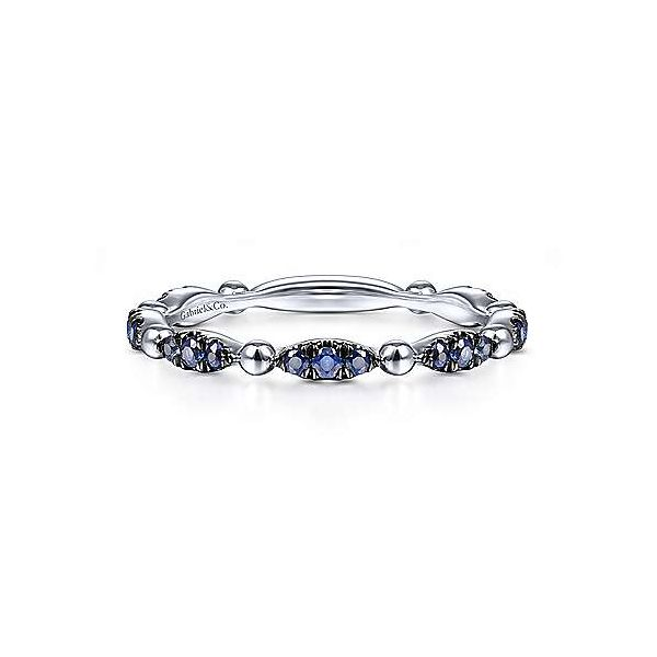 White Gold Sapphire Stack Band Polly's Fine Jewelry N. Charleston, SC