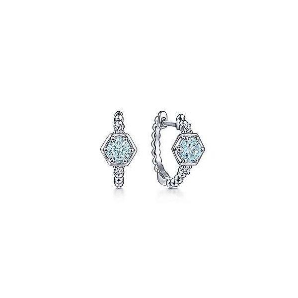 14kt White Gold Aquamarine Huggie Earrings Polly's Fine Jewelry N. Charleston, SC