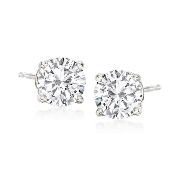 Large Selection of 14K White Gold Diamond Stud Earrings Quality Gem, LLC Bethel, CT