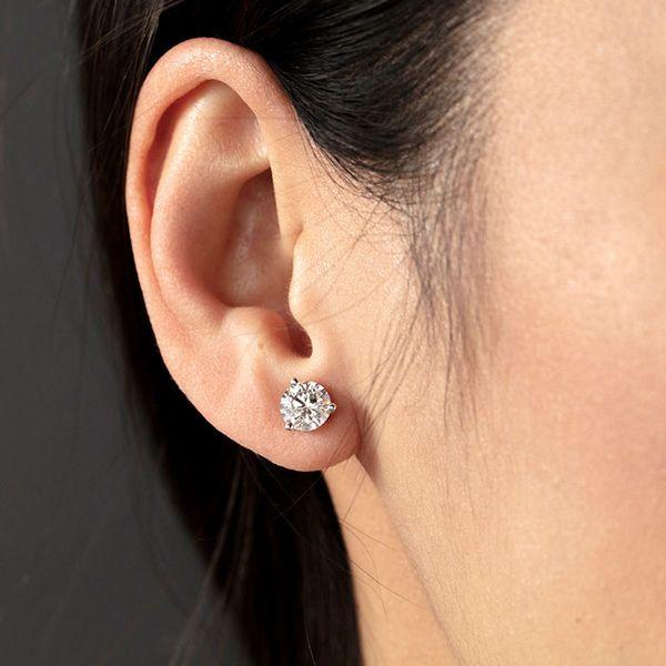Large Selection of 14K White Gold Diamond Stud Earrings Image 4 Quality Gem, LLC Bethel, CT