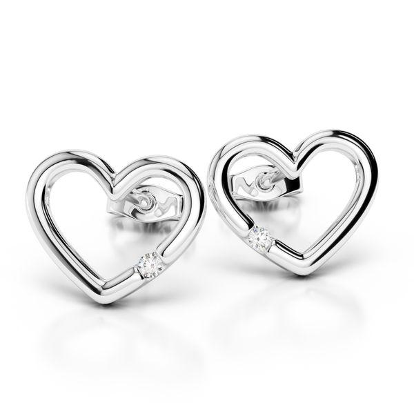 14K White Gold Single Diamond Open Heart Stud Earrings Quality Gem LLC Bethel, CT