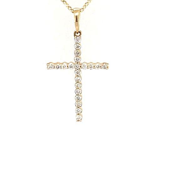 14 Karat Yellow Gold 1.9 Carat Diamond Cross Necklace Rialto Jewelry San Antonio, TX