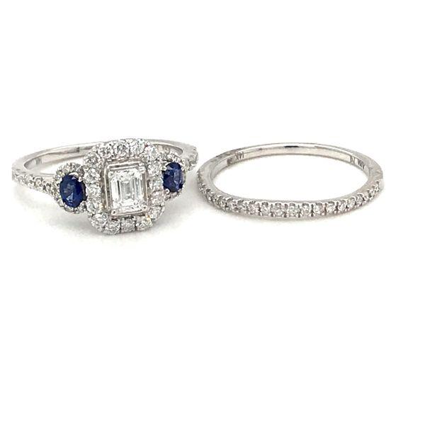 14 Karat White Gold Diamond/Sapphire Bridal Set Rialto Jewelry San Antonio, TX
