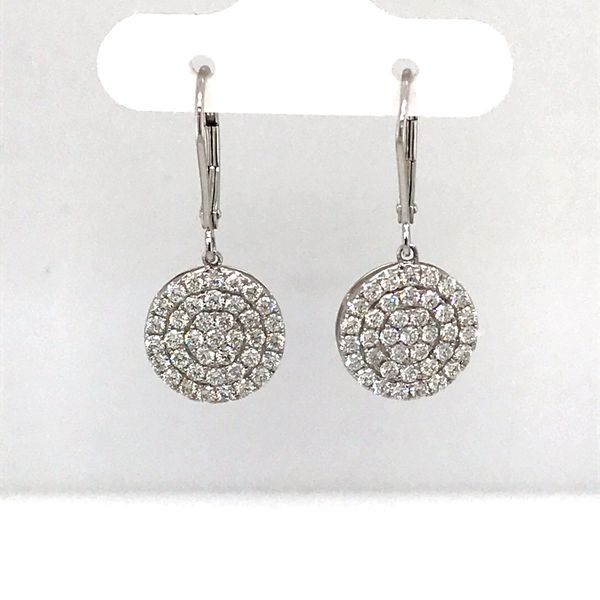 14 Karat White Gold 1.38 Carat Dangle Cluster Diamond Earrings Rialto Jewelry San Antonio, TX